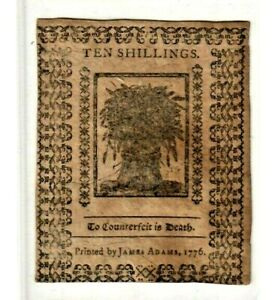 "(10 SHILLINGS) ""COLONIAL CURRENCY"" 1776  (10 SHILLINGS) ""COLONIAL"" BEAUTIFUL!!!!"