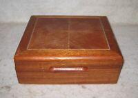"Vintage Wooden Jewelry Box Trinkets 9 x 8 x 3"""