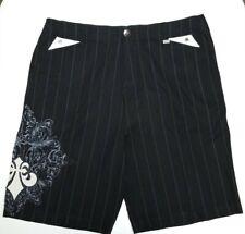 AFFLICTION Black Embroidered Flat Front Striped Black Shorts Men's sz 42