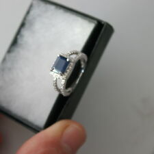 ALLURING GENUINE AAA BLUE SAPPHIRE & WHITE CZ STERLING 925 SILVER RING SIZE 6.75