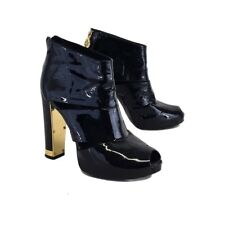 Tory Burch Women's 8.5 Black Patent Leather Heels Ankle Boots Bootie Gold Zip