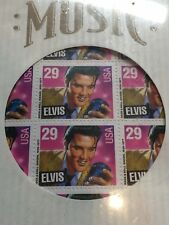 Sealed ELVIS PRESLEY 40 STAMP SHEET + LP Record SLEEVE 29 Cent PO9916