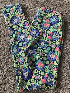 lularoe leggings OS  Floral Daisies Hawaiian Green pink Blue Geometric NEW