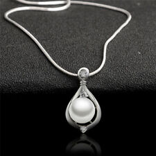 Fashion Jewelry Silver Plated Crystal Pearl Pendant Necklace Chain Women Gift VN