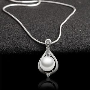 Bijoux fantaisie plaqué argent cristal perle pendentif collier chaîne femme Mpib