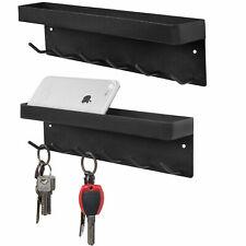 MyGift Set of 2 Wall Mounted 6 Hook Black Metal Key Holder and Top Storage Shelf