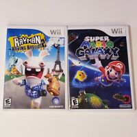 Lot Of 2 Nintendo Wii Games: Super Mario Galaxy & Rayman Raving Rabbids 2
