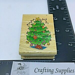 Candy Cane Ornaments Decorated Christmas Tree Rubber Stamp