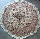 3FT Round Rug Tebriz Genuine Handmade Silk and Wool Fine Quality