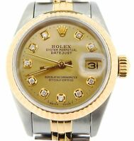 Rolex Datejust Lady 2Tone 18K Gold Stainless Steel Watch Champagne Diamond 69173