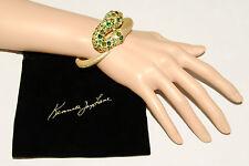 KENNETH JAY LANE - 22k Gold - Embellished Green Crystal SNAKE Bracelet *$225