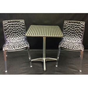 Aluminum Table with Artistic Crystal Stackable Chair
