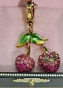 Juicy Couture Charm Pink Pave Cherries YJRU3075 NEW IN BOX