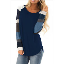 Women's Casual T Shirt Long Sleeve Color Block Blouse Tops Shirt Tee Pullover