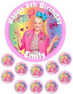 """JoJo Siwa   6.5"""" round  and 10 Smaller 1.5""""   Edible Icing Cake Topper"""