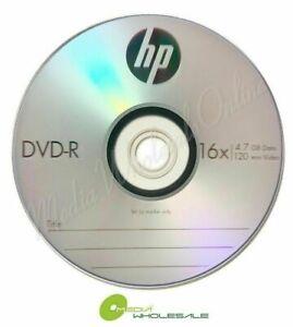 10 Pack HP 16X Blank DVDR DVD-R Logo Branded 4.7GB Media Disc in Paper Sleeve