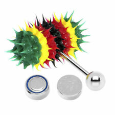 Silicone Spikes Vibrating Tongue Ring Rasta Jamaican 14G Surgical Steel