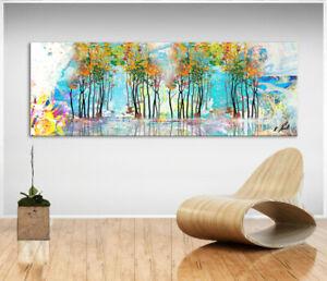 Abstrektes Bild Landschaft Bäume Bunt Leinwand Kunst Bilder Wandbilder D2249