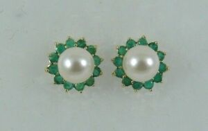 Akoya 6.6 mm White Pearl Earring and Emerald 0.60ct Jackets 14k Yellow Gold