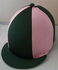RIDING HAT COVER - BOTTLE GREEN & SUGAR PINK WITH BUTTON