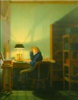 """perfect oil painting handpainted on canvas """"Man Reading by Lamplight""""@NO8190"""