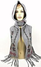 Johnny Was Scarf Hijab Cotton Fringes Bohemian Hooded wrap Gray NWT Embroidered