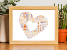 Wordart Birthday, anniversary, wedding Personalised Heart Word art A4