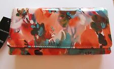 Wilson's Leather wallet-floral pattern- clutch- green orange brown-roomy