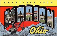 Ohio Postcard Linen MARION Steam Shovel Mining Mine LARGE LETTER GREETING