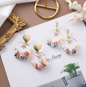 2 Designs of Ladies Stub Earrings 925 Silver Colourful Beach Holiday Gift -Shell