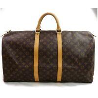 Authentic Louis Vuitton Boston Bag M41424 Keepall 55 Browns Monogram 822001