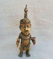 Vintage AFRICAN BENIN BRONZE Statue King Tribal  AFRICAN ART PRIMITIVE