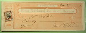 Bank Check, First National Bank of Romeo, Mich. 1873, Interesting vignettes