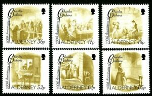 ALDERNEY 8 MAY 2012 CHARLES DICKENS SET OF ALL 6 COMMEMORATIVE STAMPS MH
