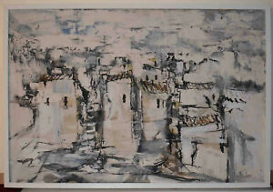 American Artist Gino Hollander, Large Original Oil Painting On Canvas Abstract