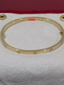 Authentic Cartier Love Bracelet, Small Model, Yellow Gold, Size 18