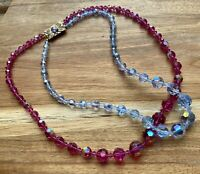 Vintage Pink Blue Faceted Crystal Glass Beaded Necklace Gorgeous!