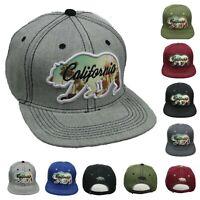 CALIFORNIA Baseball Cap Snapback Flat Bill Sun Hat Cali Bear Outdoor Camping