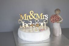 Personalised Gold acrylic mirror Mr & Mrs wedding cake topper