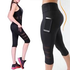 NEW Women's Mesh Panels Workout Sports Gym Yoga Compression Leggings 3/4 Pants