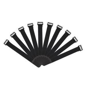 10pcs Fishing Rod Tie Strap Suspenders Fastener Hook Loop Ties Belt (Black)