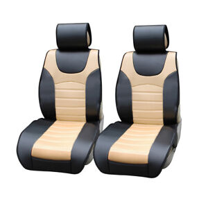 2 Front Black/Tan PU Leather Car Seat Cushion Covers for Volkswagen #805