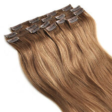 """Full Head Set 14""""-30"""" Clip in Remy Human Hair Extensions 16 Colors 70-120g 7Pcs"""