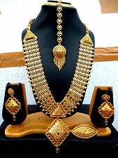22K Gold Plated 4 Lines Indian Wedding 11'' Long Necklace Earrings Tikka Ring  a