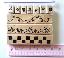 Stampin up Border Builders Rubber Stamp Set LOT Xmas Lites Flowers Checkerboard
