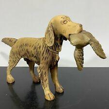 Vintage RARE Painted Folk Art Carved Wooden Dog w/Bird Statue Figurine