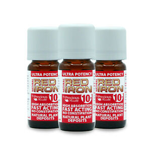 Ultra Potent High Strength Natural Red Iron 3x10ml - Quickly Restore Iron Levels