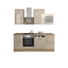 Küchenzeile Einbauküche Elektrogeräte Küche mit Geschirrspüler 220cm creme beige