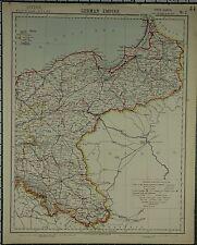 1883 LETTS MAP ~ GERMAN EMPIRE POSEN POMERANIA EAST PRUSSIA DANZIG