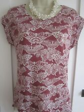 Ladies size 8 New Look long dark pink with white butterflies top
